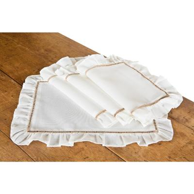 Hemstitch/Ruffle 14 in. x 20 in. Trim White and Natural Hemstitch Placemats (Set of 4)