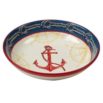 Coastal Life Multi-Colored 13 in. x 3 in. Serving/Pasta Bowl