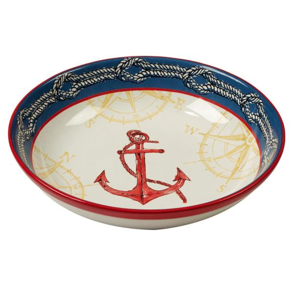 Certified International Coastal Life Multi-Colored 13 in. x 3 in. Serving/Pasta