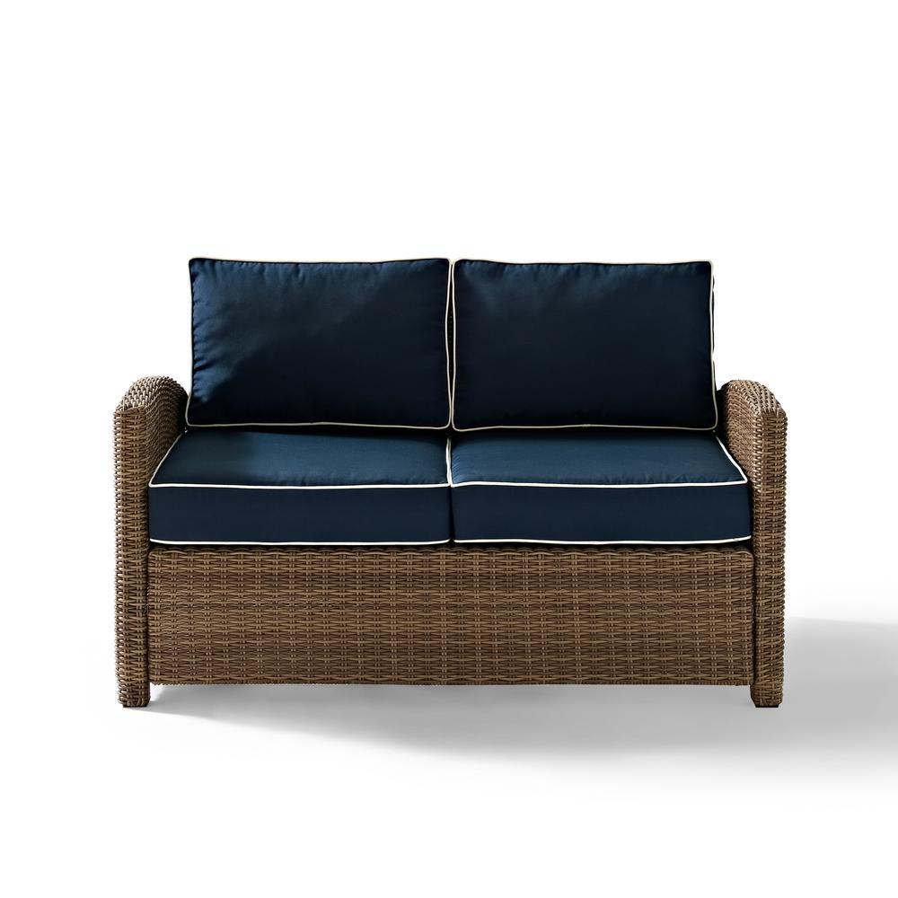 Bradenton Wicker Outdoor Loveseat with Navy Cushions