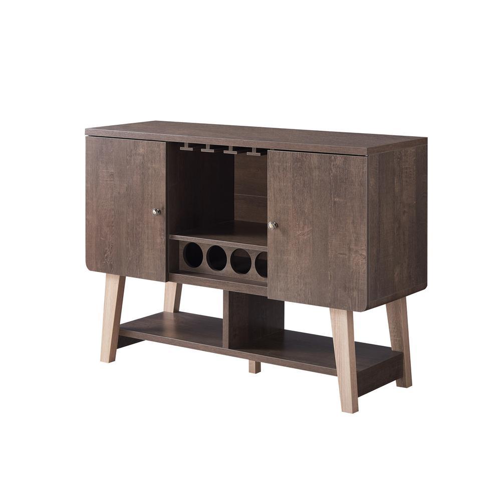 Nico 4-Bottle Walnut Oak Wine Cabinet
