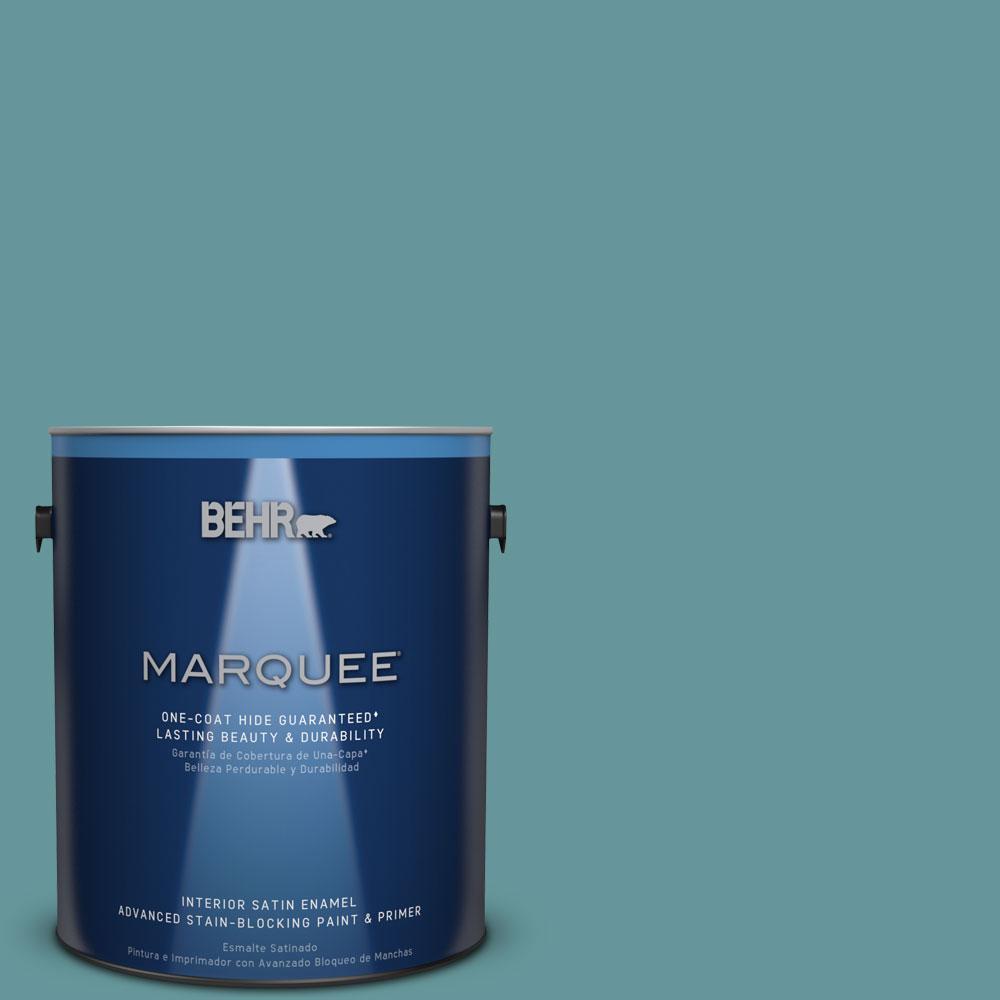 1 gal. #MQ6-33 Vintage Teal One-Coat Hide Satin Enamel Interior Paint