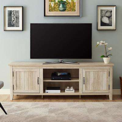 "70"" Modern Farmhouse Entertainment Center TV Stand Storage Console with Doors and Center Shelving - White Oak"