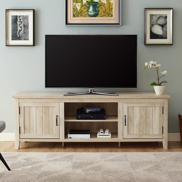 """Walker Edison 70"""" Modern Farmhouse Entertainment Center TV Stand Storage Console with Doors and Center Shelving - White Oak"""