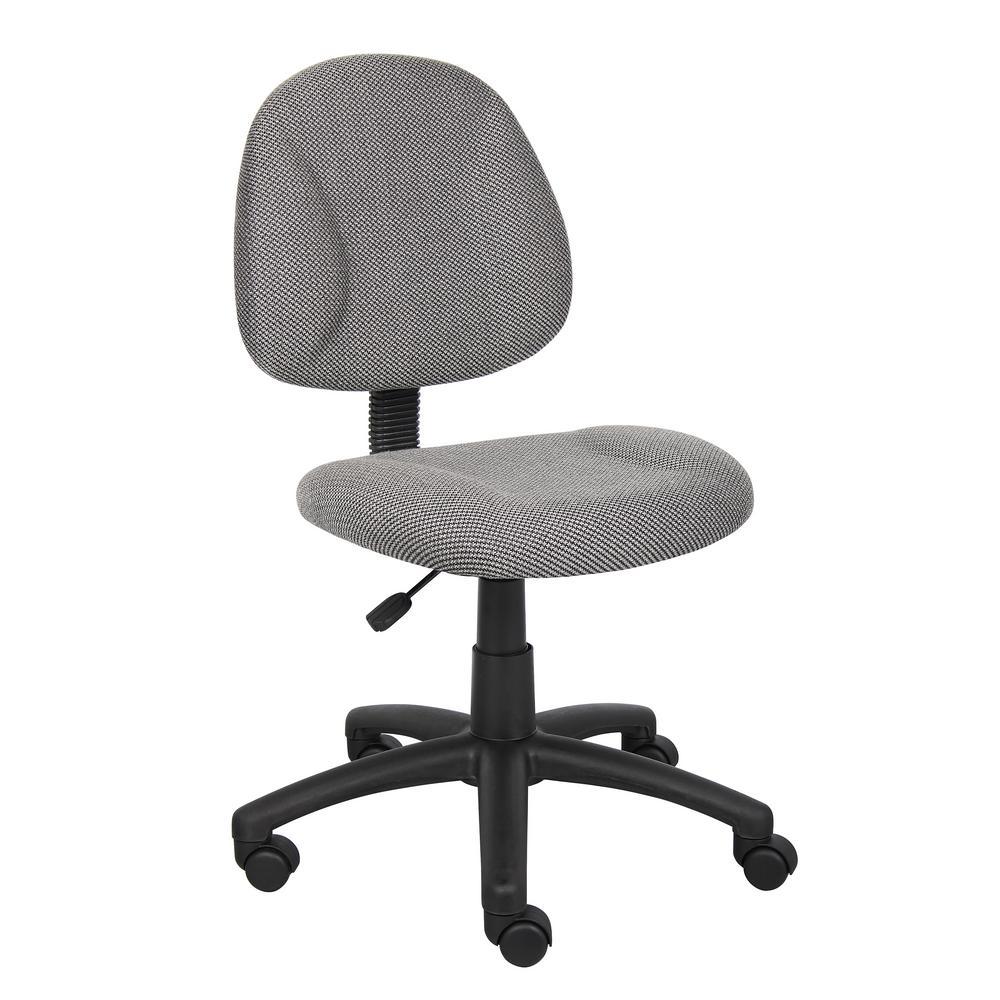 HomePro Armless Task Chair Grey Tweed Fabric Pnuematic Lift