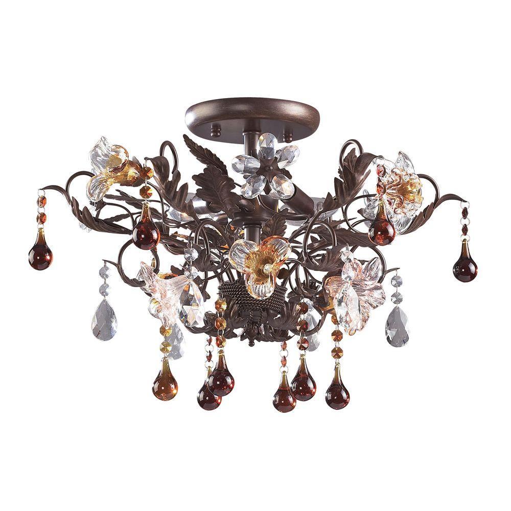 Cristallo Fiore 3-Light Deep Rust Ceiling Semi-Flush Mount Light