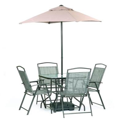 Oasis Grey 7-Piece Steel Square and Umbrella Outdoor Dining Set