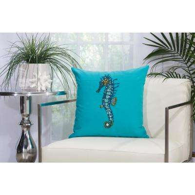 Beaded Seahorse 18 in. x 18 in. Turquoise Indoor and Outdoor Pillow