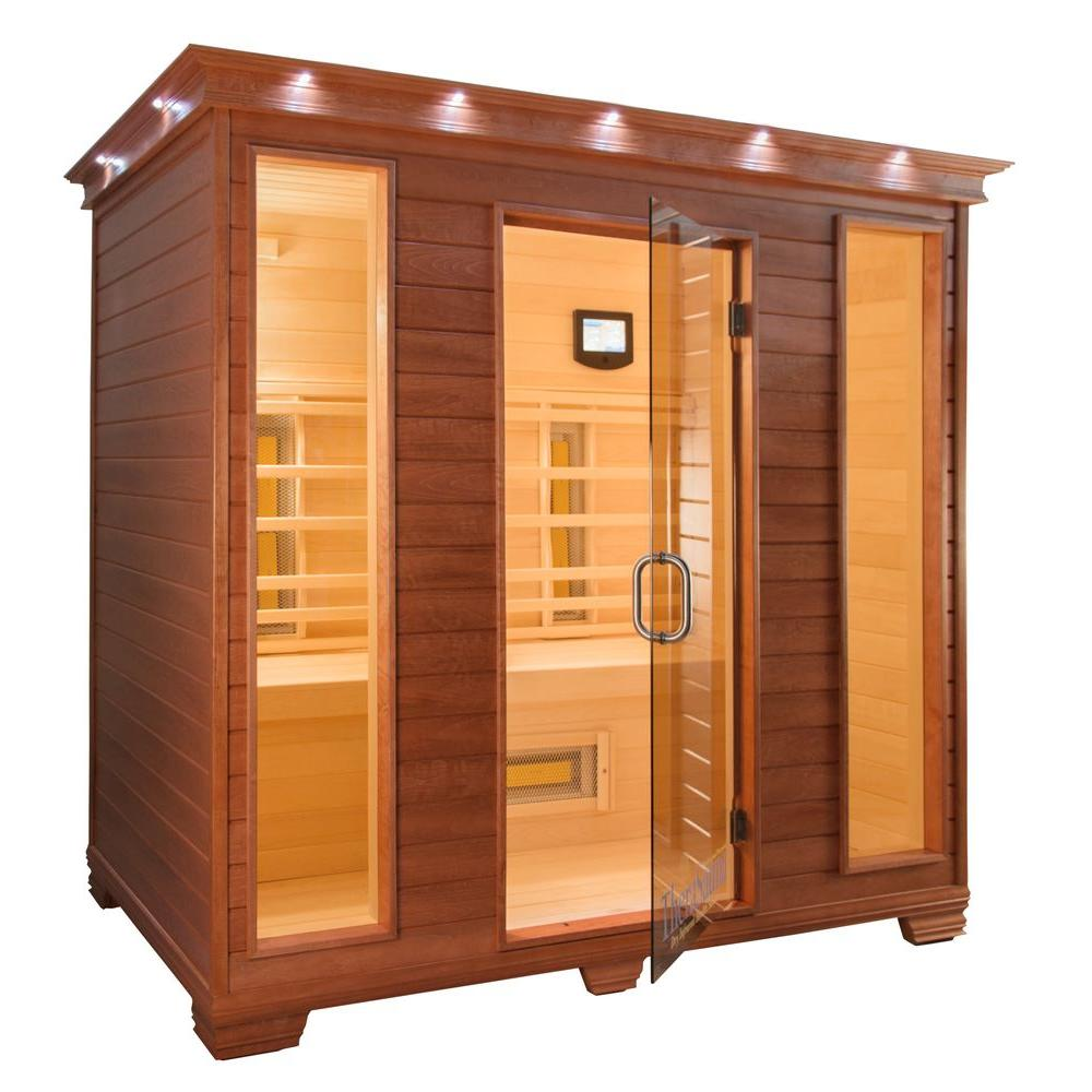 TheraSauna 4-Person Infrared Health Sauna with MPS Touchview Control, Aspen Wood and 12 TheraMitter Heaters