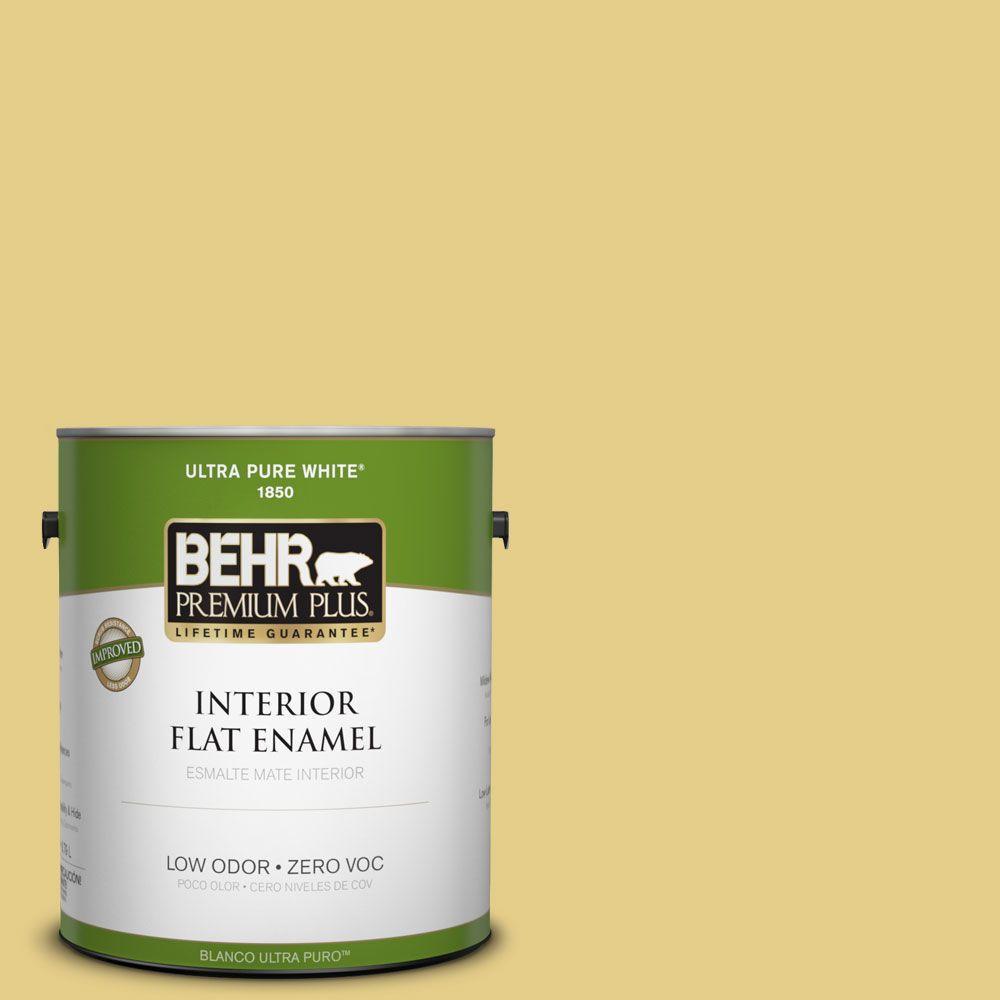 BEHR Premium Plus 1-gal. #T12-6 Lol Yellow Zero VOC Flat Enamel Interior Paint-DISCONTINUED