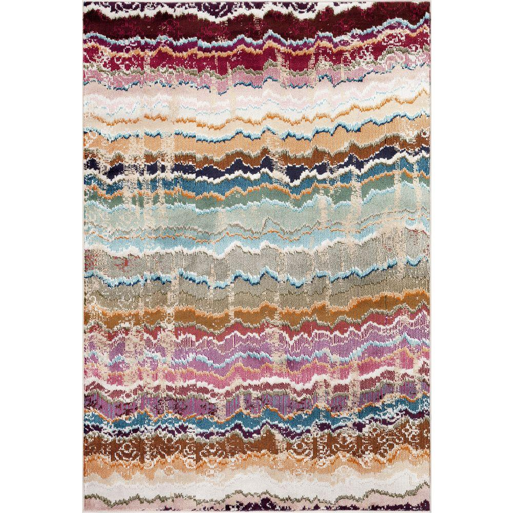 World Rug Gallery Distressed Modern Stripes Multi 2 ft. x 3 ft. Indoor Area Rug