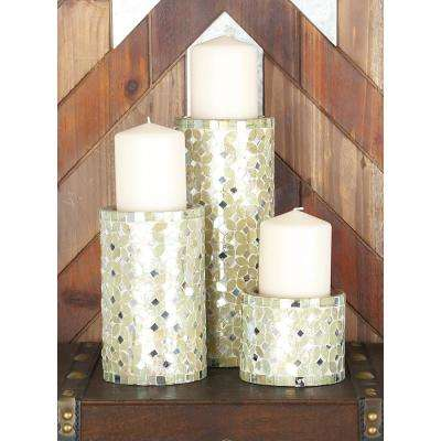 Modern Pearl White Metal Mosaic Candle Holders (Set of 3)