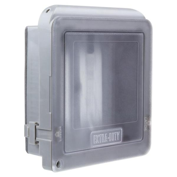 2-Gang Extra Duty Non-Metallic Low Profile While-In-Use Weatherproof Horizontal/Vertical Receptacle Cover, Gray