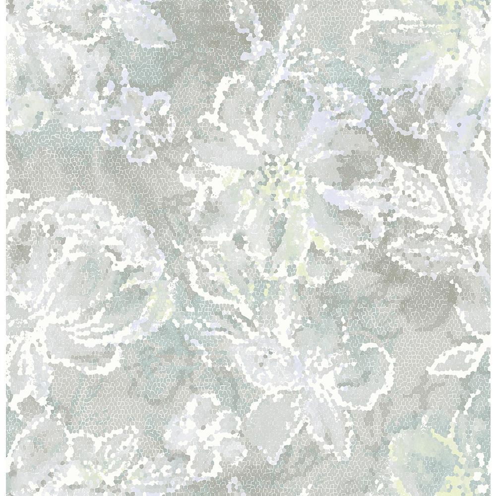 56.4 sq. ft. Allure Seafoam Floral Wallpaper