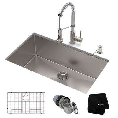 Standart PRO All-in-One Undermount Stainless Steel 32 in. Single Bowl Kitchen Sink with Faucet in Stainless Steel Chrome