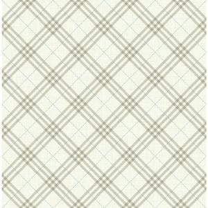 Kids Greige and Cerulean Diagonal Plaid Wallpaper