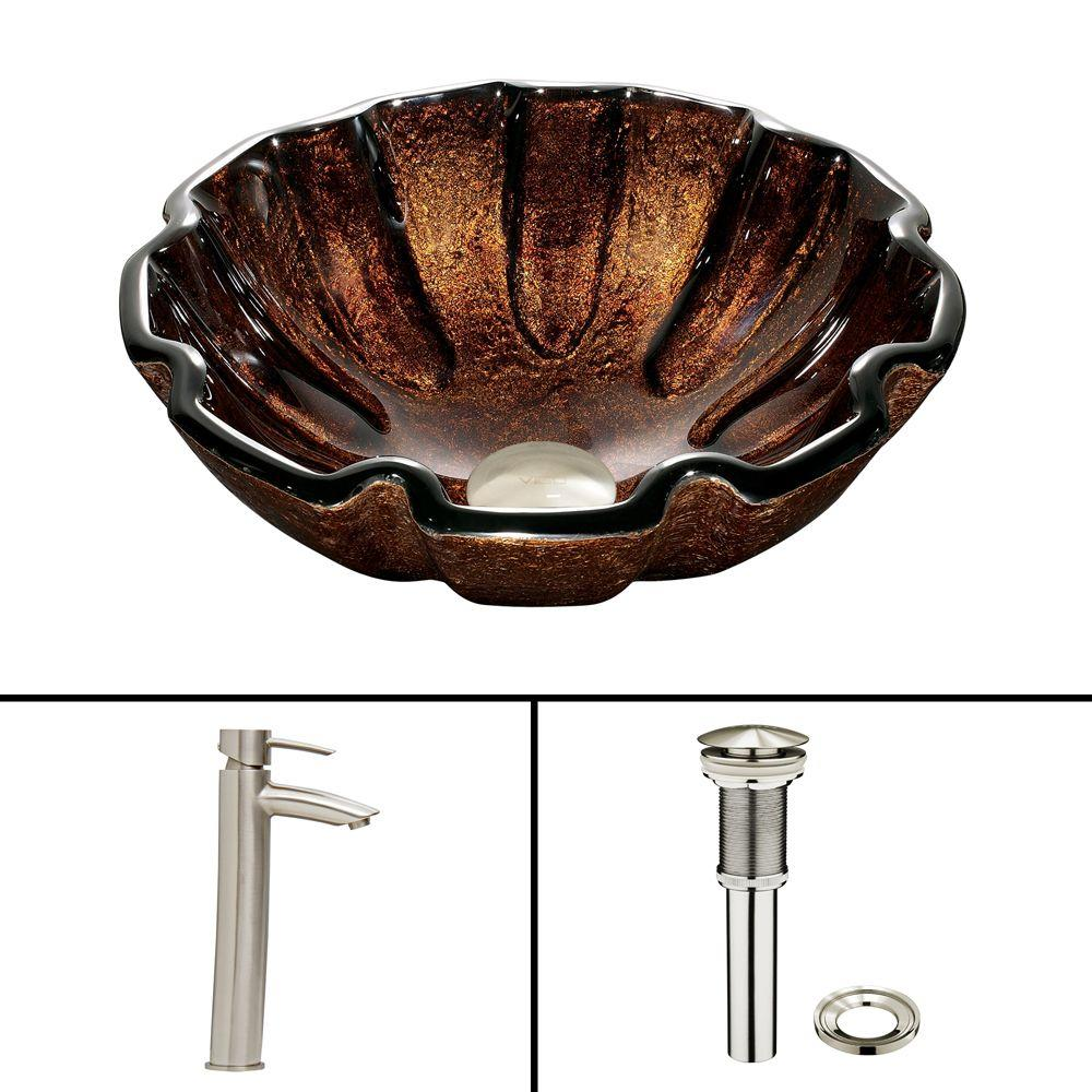 Glass Vessel Sink in Walnut Shell and Shadow Faucet Set in