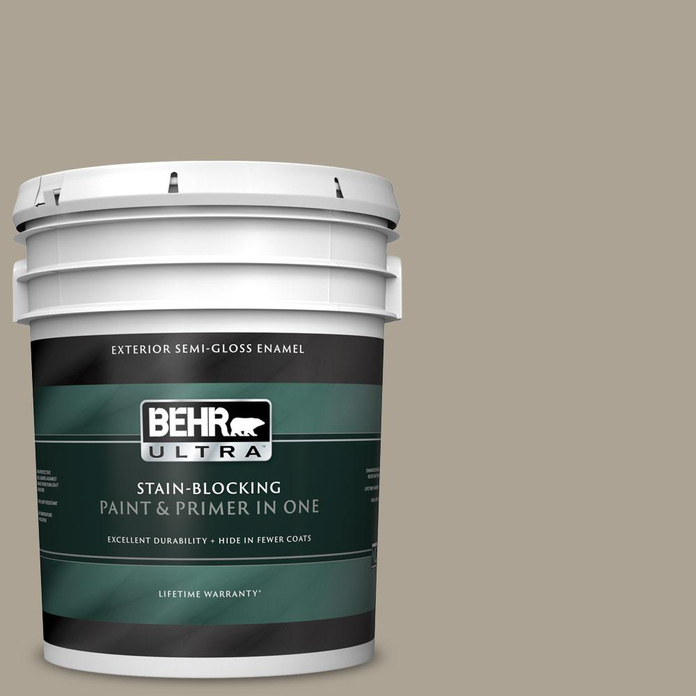 Behr Ultra 5 Gal Home Decorators Collection Hdc Nt 14 Smoked Tan Semi Gloss Enamel Exterior Paint Primer