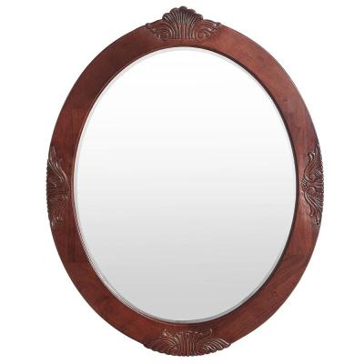 Winslow 30 in. x 38 in. Single Framed Wall Mirror in Antique Cherry
