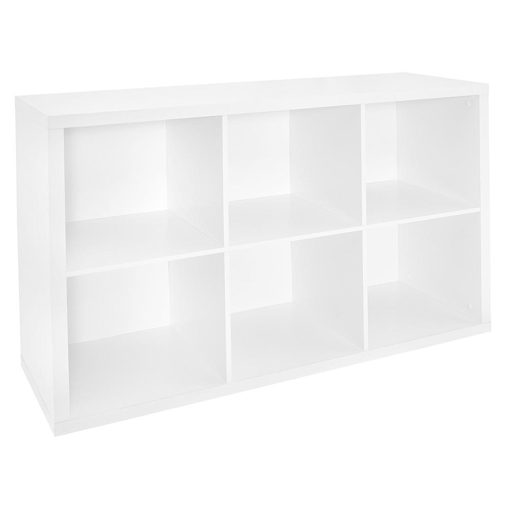 30 in. W x 44 in. H Decorative White 6-Cube Organizer