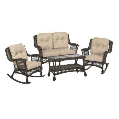 Cappuccino Collection 4-Piece Patio Rocking Chair Conversation Set with Light Brown Cushions