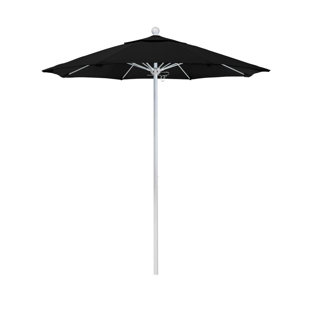 California Umbrella 7.5 ft. Market Matted White Fiberglass Pulley Open Patio Umbrella in Black Pacifica