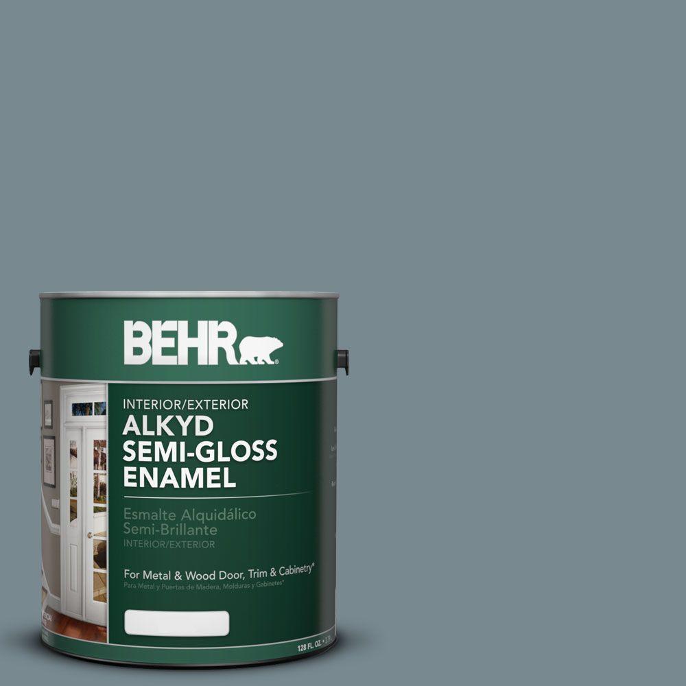 1-gal. #AE-41 Diplomat Blue Semi-Gloss Enamel Alkyd Interior/Exterior Paint