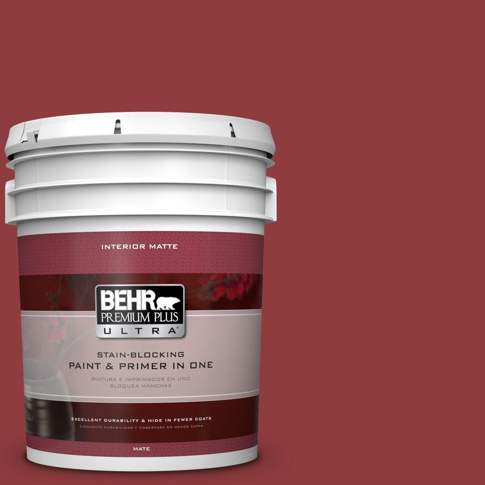 Behr Premium Plus Ultra 5 Gal 160d 7 Cranberry Whip Matte Interior Paint And Primer In One