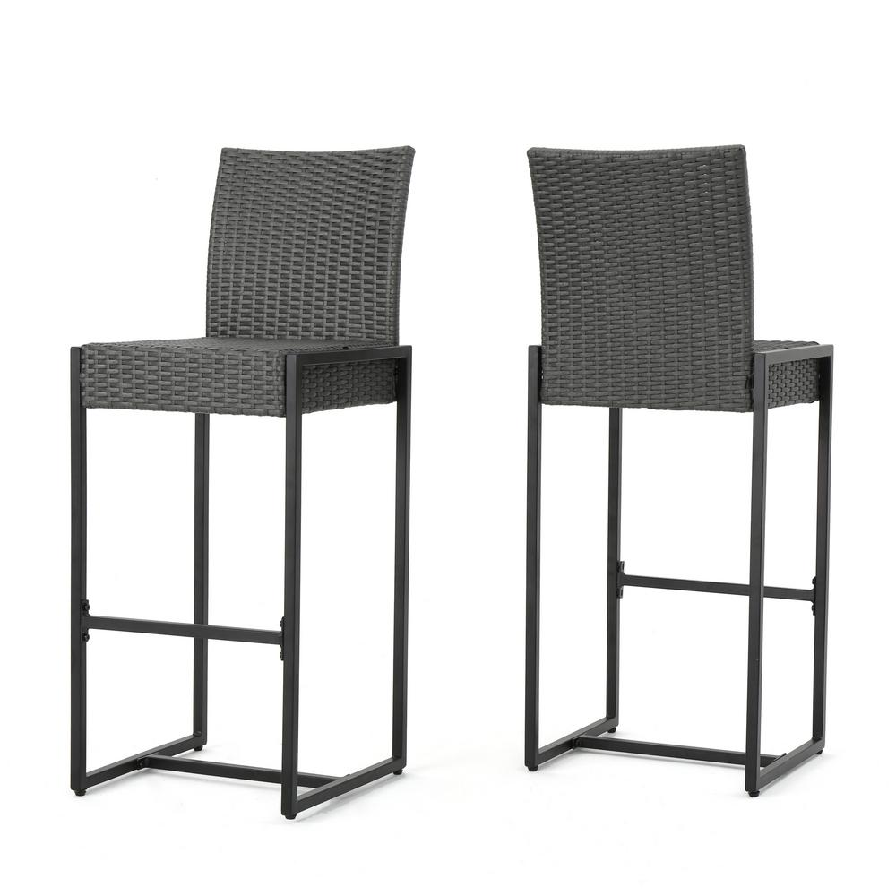 Le House Conrad Wicker Outdoor Bar Stool 2 Pack