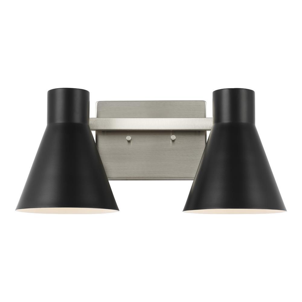 Towner 15.75 in. 2-Light Black Vanity Light with Black Steel Shades