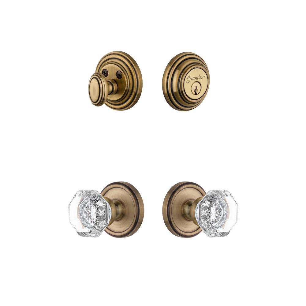 Georgetown Rosette 2-3/4 in. Backset Vintage Brass Chambord Crystal Door Knob with Single Cylinder Deadbolt