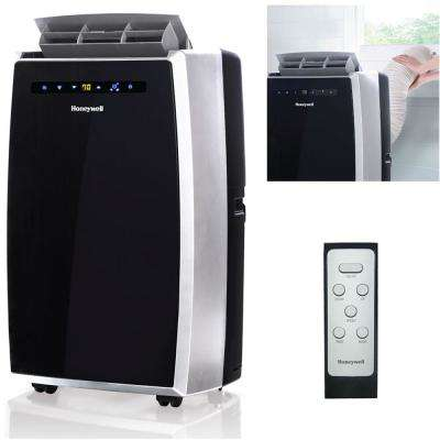 12,000 BTU, 115-Volt Portable Air Conditioner with Dehumidifier and Remote Control in Black and Silver