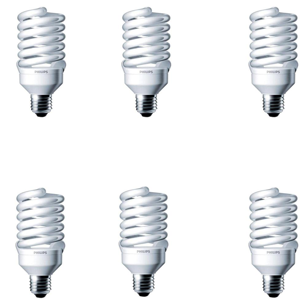 Philips 100-Watt Equivalent T2 Spiral CFL Light Bulb Soft White ...