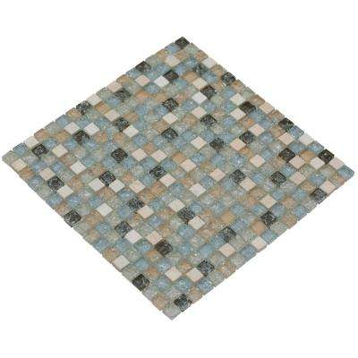 MeshPess/Ocean, 4 in. x 4 in. x 8 mm Glass and Stone Mesh-Mounted Mosaic Tile, Tile Sample