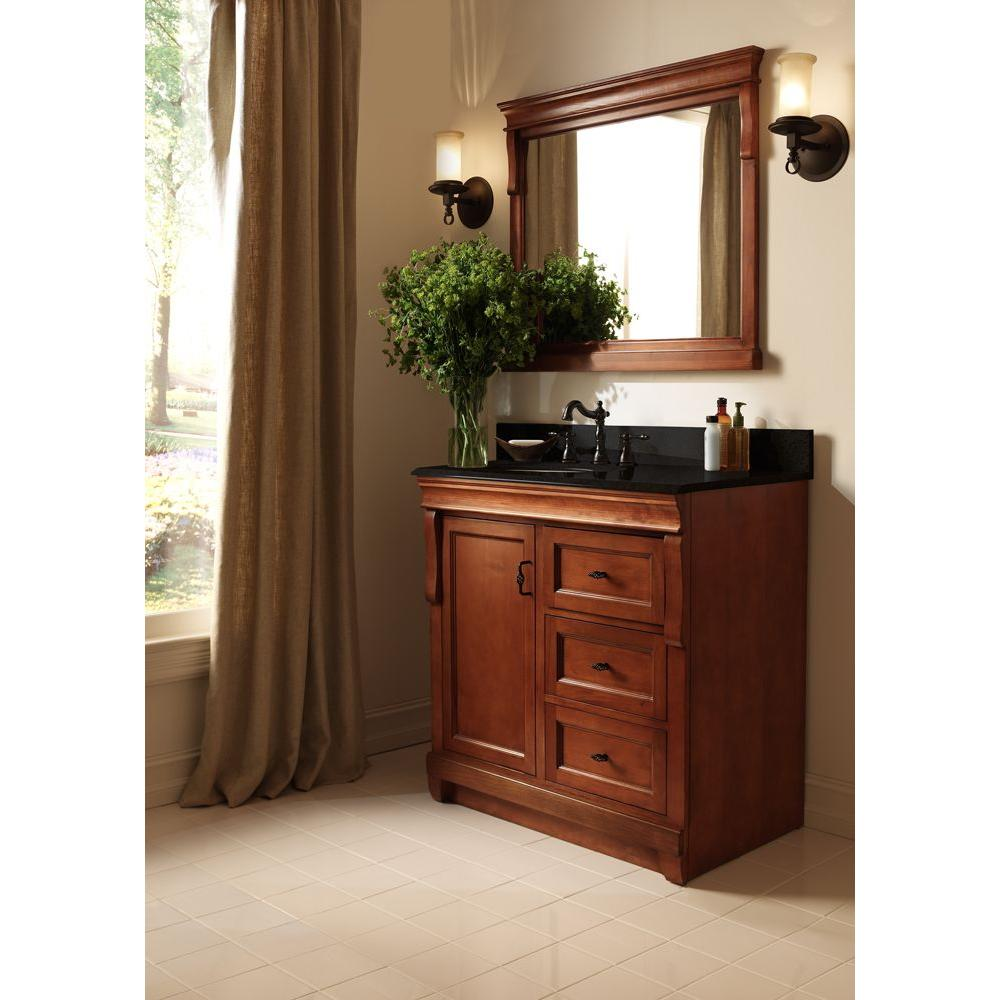 Home Decorators Collection Naples 30 In W X 21 63 In D Vanity Cabinet Only In Warm Cinnamon With Right Hand Drawers