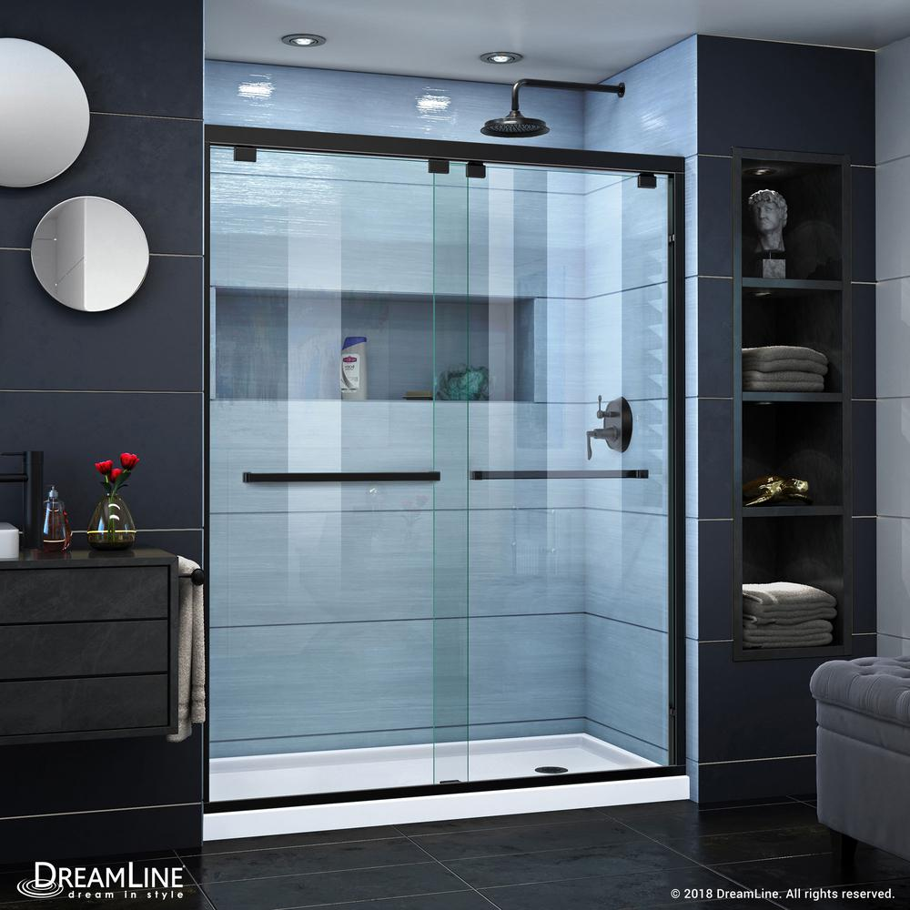 Dreamwerks 60 in. x 79 in. Frameless Sliding Shower Door in Black ...