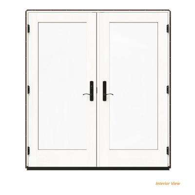 72 in. x 80 in. W-4500 Brown Clad Wood Right-Hand Full Lite French Patio Door w/White Paint Interior