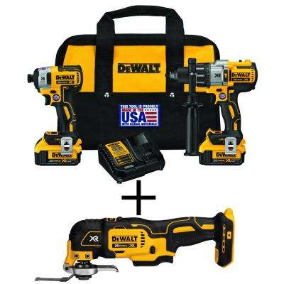 20-Volt MAX XR Lithium-Ion Cordless Brushless Hammer Drill/Impact Combo Kit (2-Tool) with Bonus Oscillating Tool
