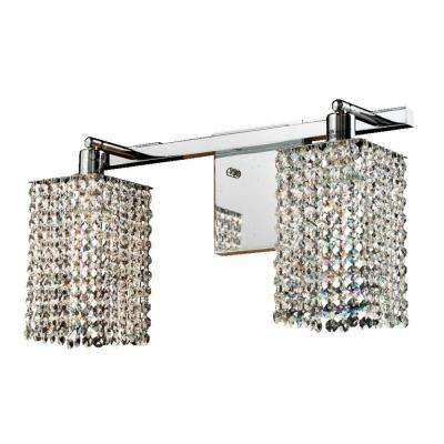 Fuzion X 2-Light Square Single Layer Crystal and Chrome Wall Sconce