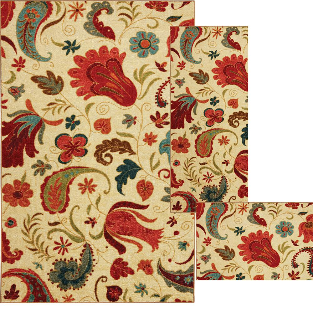 Mohawk home tropical acres multi 8 ft x 10 ft 3 piece indoor area rug set 539535 the home depot