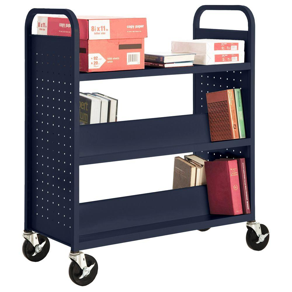 Sandusky Navy Mobile Steel Bookcase