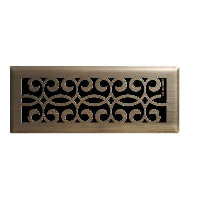 4 in. x 12 in. Classic Scroll Floor Register in Antique Brass