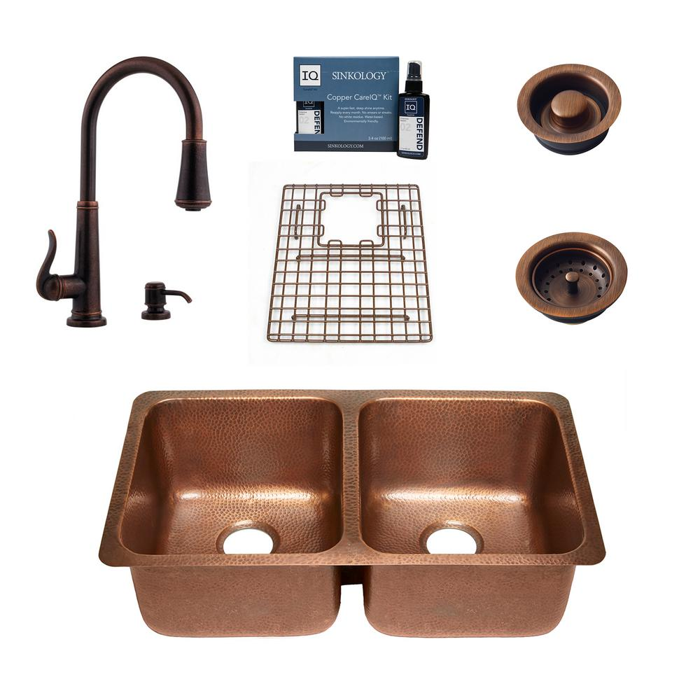 SINKOLOGY Rivera All-in-One Undermount Copper 32.25 in. 50/50 Double Bowl Kitchen Sink with Pfister Ashfield Faucet and Drains