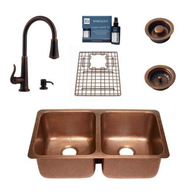 Rivera All-in-One Undermount Copper 32.25 in. 50/50 Double Bowl Kitchen Sink with Pfister Ashfield Faucet and Drains