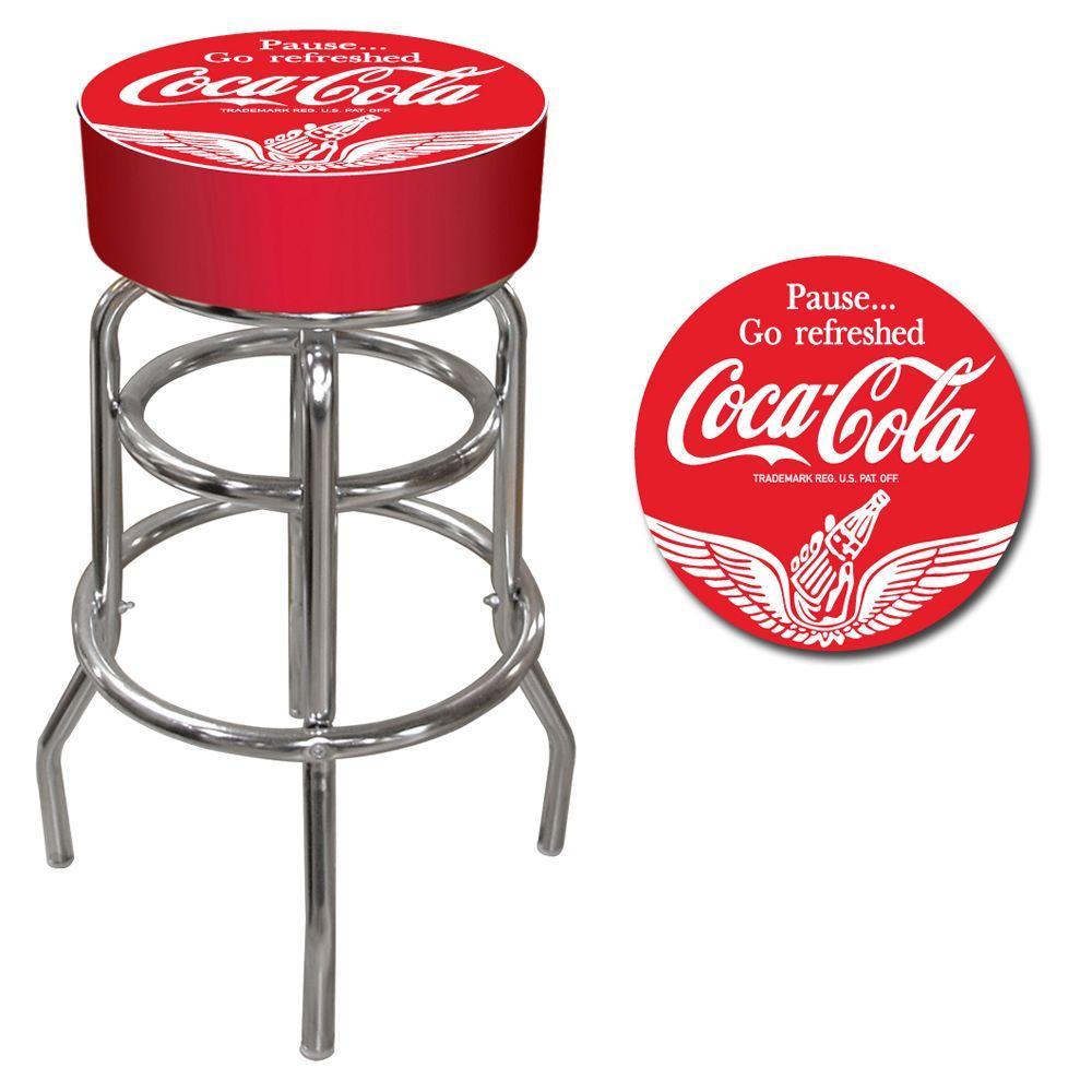 Trademark Wings Coca Cola 31 in. Chrome Swivel Cushioned Bar Stool