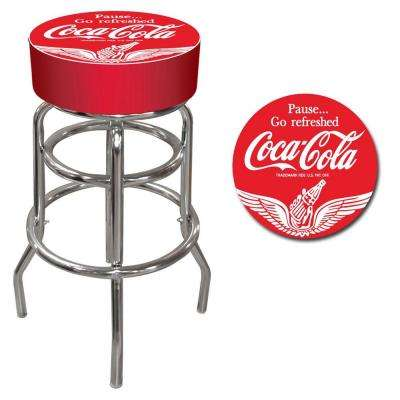 Wings Coca Cola 31 in. Chrome Swivel Cushioned Bar Stool