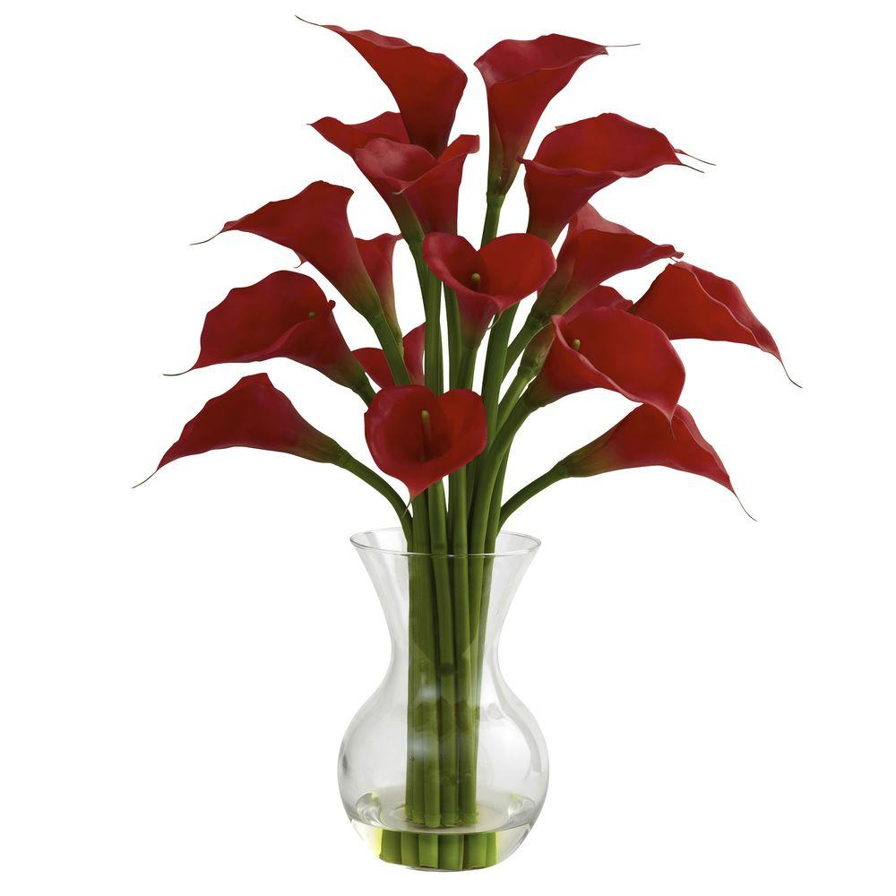 Nearly Natural Galla Calla Lily With Vase Arrangement In Red