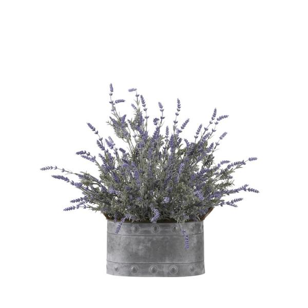 D&W Silks Indoor Lavender in Oval Metal Planter 174007