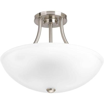 Gather Collection 12.5 in. 2-Light Brushed Nickel Semi-Flush Mount