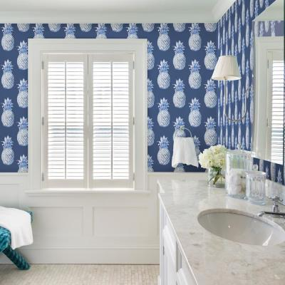 56.4 sq. ft. Copacabana Navy Pineapple Wallpaper